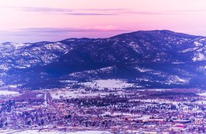 Missoula at night during the Running Up for Air Series event.